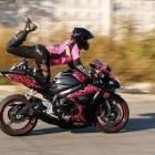 Hot girl + sport bike + rear tire = FUNNY FAIL