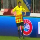 Funny football referee moment on Euro qualifiers 2016 Bosnia VS Belgium, the linesman throw his flag